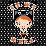 Śliczny czarnego kota dziewczyny sen dobrze na polki kropki tła kreskówki ilustraci dla Halloween karcianego projekta Zdjęcia Royalty Free