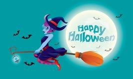 Śliczny czarownicy latanie z jej magiczną miotłą Z księżyc w pełni nocy sceną Zdjęcia Royalty Free