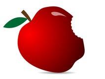 Śliczny Czerwony świeży jabłko Ilustracja jabłczana ikona Obrazy Stock