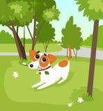 Śliczny dźwigarki Russell teriera psa bieg z kijem w parku, lato krajobrazowa wektorowa ilustracja ilustracja wektor