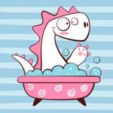 Śliczny Dino obmycie w łazience ilustracja wektor