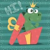 Śliczny Dino z czerwonym prezentem royalty ilustracja