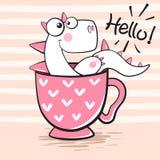Śliczny Dino z filiżanką herbata ilustracja wektor