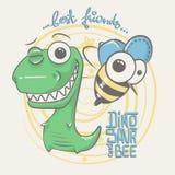 Śliczny dinosaura i pszczoły rysunek dla dziecko mody royalty ilustracja