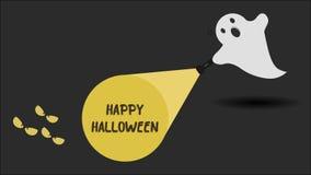 Śliczny ducha charakter właśnie zakłada Szczęśliwą Halloweenową wiadomość z jego latarką również zwrócić corel ilustracji wektora ilustracji