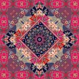 Śliczny dywan Pakować projekt tablecloth pillowcase koc Rosyjski patchworku styl royalty ilustracja
