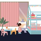 Śliczny dzieciak w obrazie w jego jej sypialni sztuki samotny wnętrze dla córki dziewczyny Fotografia Royalty Free