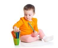 Śliczny dzieciaka rysunek z colourful ołówkami Obraz Stock