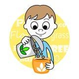Śliczny dziecka i rośliny ziarno Zdjęcia Stock