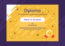 Śliczny dziecko dyplom lub świadectwa tła projekta szablon Fotografia Stock