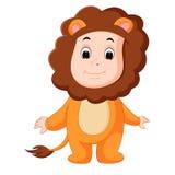 Śliczny dziecko jest ubranym lwa kostium ilustracji