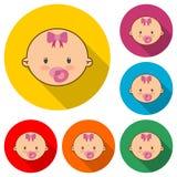 Śliczny dziecko logo, dziecko twarzy ikona, koloru set z długim cieniem ilustracji