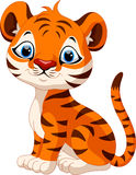 Śliczny dziecko tygrysa kreskówki obsiadanie Fotografia Royalty Free