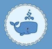 Śliczny dziecko wieloryb na błękicie Obrazy Stock