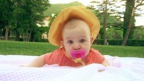 Śliczny dziecko z różowym pacyfikatorem kłaść na ręczniku na trawie zbiory wideo