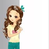 Śliczny dziewczyna chwyta sztandar ilustracja wektor