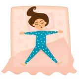 Śliczny dziewczyna sen w łóżku ilustracji