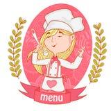 Śliczny dziewczyna szefa kuchni kucharz z kopyścią menu Fotografia Royalty Free