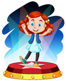 Śliczny dziewczyna taniec na scenie ilustracji
