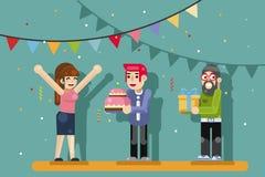 Śliczny dziewczyny kobiety przyjęcia przyjaciół prezenta pudełka urodzinowy tort świętuje płaską projekta wektoru ilustrację ilustracja wektor