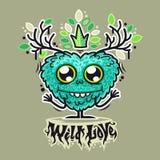 Śliczny Dziki miłość potwór royalty ilustracja