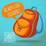 Śliczny edukacja plakat - plecak, z mową ilustracji