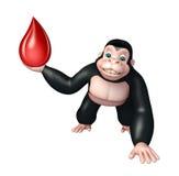 Śliczny goryla postać z kreskówki z krwi kroplą Zdjęcie Stock