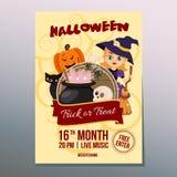 Śliczny Halloween tygodnia festiwalu dnia plakat z czarownik kreskówką ilustracji