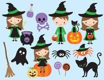 Śliczny Halloweenowy mały czarownicy i czarownika wektor Fotografia Stock
