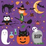 Śliczny Halloweenowy set royalty ilustracja
