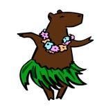 Śliczny Hawaje costumed tancerz kreskówki kapibary maskotki royalty ilustracja