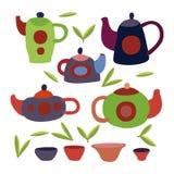 Śliczny herbata set Kolorowy wektor odizolowywający przedmioty Zdjęcie Stock