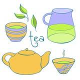 Śliczny herbata set niebieski obraz nieba tęczową chmura wektora Obrazy Royalty Free
