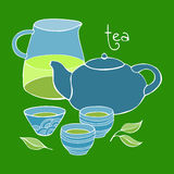 Śliczny herbata set niebieski obraz nieba tęczową chmura wektora Obrazy Stock