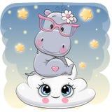 Śliczny hipopotam a na chmurze royalty ilustracja