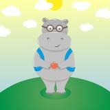 Śliczny hipopotam w eyeglasses Fotografia Royalty Free