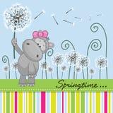 Śliczny hipopotam z dandelion Zdjęcia Stock