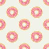 Śliczny i dziecięcy bezszwowy tło z różowymi donuts Fotografia Stock