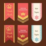 Śliczny i elegancki bookmark lub promocja szablon s chorągwiany lub tasiemkowy Fotografia Stock