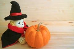 Śliczny i minimalista Halloweenowy wystrój z lew zabawką w zdjęcie royalty free