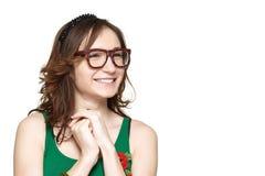 Śliczny i nieśmiały młodej kobiety ono uśmiecha się Obraz Stock