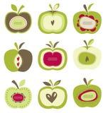 Śliczny jaskrawy retro jabłko set ilustracja wektor