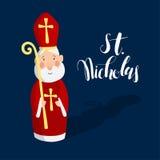 Śliczny kartka z pozdrowieniami z świętym Nicholas ilustracja wektor