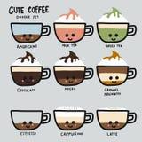 Śliczny kawowy typ ustalona doodle stylu kreskówki ilustracja ilustracja wektor