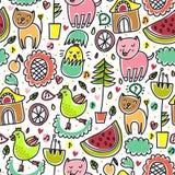 Śliczny kolorowy bezszwowy dziecięcy wzór ilustracja wektor