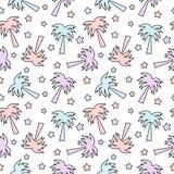 Śliczny kolorowy drzewko palmowe i gwiazdy tła bezszwowa deseniowa ilustracja Obraz Royalty Free