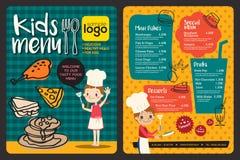 Śliczny kolorowy dzieciaka posiłku menu szablon ilustracja wektor