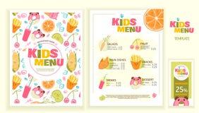 Śliczny kolorowy dzieciaka posiłku menu wektoru szablon Obraz Stock