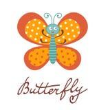 Śliczny kolorowy motyli charakter Zdjęcia Stock