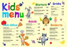 Śliczny kolorowy posiłek żartuje menu szablon z ślicznymi małymi słodkimi domami ilustracja wektor